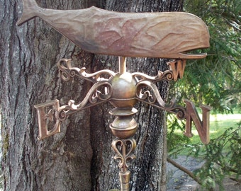 60s SYROCO Whale Weathervane Hanging Inside or Outside #4966 Brass Look