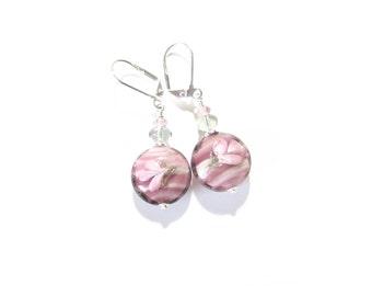 Murano Glass Purple Flower Earrings, Lampwork Glass Earrings, Venetian Jewelry, Sterling Leverback Earrings, Glass Bead Dangle Earrings