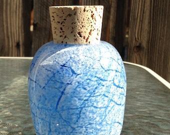 Hand Blown Glass Jar - Big Sky Crackle with cork