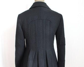 Vintage Pleated Short Jacket // Black wool Jacket