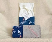 LA Dodgers Baby Blanket Minky Name Embroidered Gift Set Large Minky PERSONALIZED Baby Boy Girl Rangers Cardinals Pirates