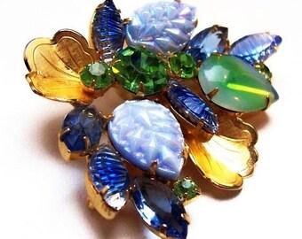"""Schriener Brooch Teal Blue Green Rhinestones Gold Metal Leaves 2 1/2"""" Vintage"""