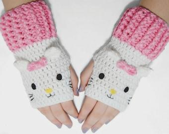 White Cat Fingerless Gloves-Kawaii-Crochet Gloves-Animal Gloves-Fingerless Gloves-lolita-Fairy kei-Mitten-Winter-Christmas Gift-Cat Gloves