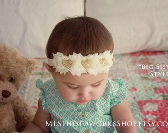 Big Sister/Little Sister Style Ivory Golden Heart Flower Crowns for Babies, Girls, and Women - Soft Ivory and Sparkly Gold Heart Hair Bows