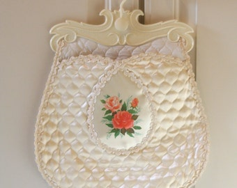 "Vintage Lingerie Hosiery Pouch Bag Closet Storage Unmentionables ""Hosiery Hamper"" Quilted Satin Vinyl Off White Ivory w/ Lace Rose Floral"
