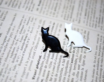 Black Cat Earrings -- Black Cat, White Cat Silhouettes, You choose your favorite color!