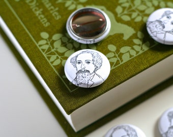 Charles Dickens Pin Badge Book Worm Badge Charles Dickens Button Book Button