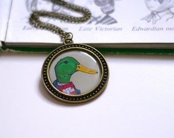 Duck Necklace Cute Necklace Animals In Clothes Necklace Geeky Necklace