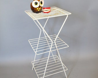 Vintage mid century modern white wire metal plant stand side table