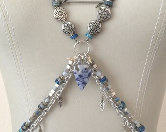 Mediterranean Goddess - Blues and Silver - Arrowhead Body Chain Jewelry, Beads, Festival Jewels - Fits XS to Large