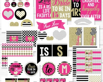 """Personalized Diy Printable """"Chic Kate Bride"""" Bridal Shower Party Digital Party Package"""