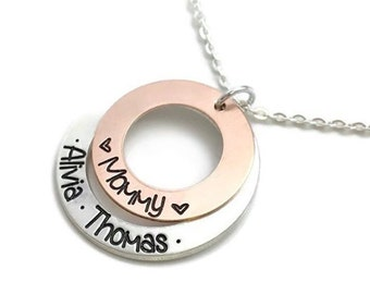 Gift For Her / Mixed Metal / Stamped Custom  / Mommy Necklace / Copper Pewter Stacked / New Mom Gift /Engraved Jewelry / Personalized