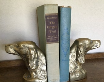 Vintage Brass Bookend Pair / Dog / Mans Best Friend / Home Decor / Irish Setter Bookends / Labrador Golden Retriever /