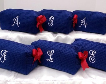 Small Waffle Cosmetic Bag Make up Case Personalized Bridesmaid Gifts