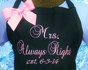 Personalized Apron Mrs Always Right Wedding Gift