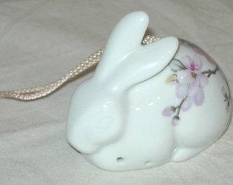 Vintage Porcelain Bunny Rabbit Pomander Potpourri Closet Sachet HP Dogwood Flowers Floral Made in Japan for Eatons