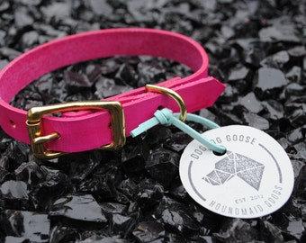 The Halfling Collar: Pink & Brass Leather Dog Collar