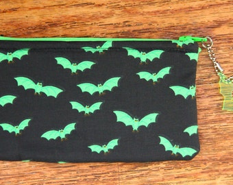 Green Bat Wallet Pouch Purse with Keychain