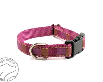 """Meme's Raspberry Squares Dog Collar -  3/4"""" (19mm) Wide - Choice of style and size - Quick Release or Martingale Dog Collar // Rose Pink"""