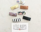Snap Clips - Glitter and Leather hair clips