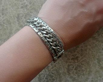 Vintage Silver Curb Chain Bracelet - Chunky Chain Bracelet - 1960s Costume Jewelry - Statement Bracelet