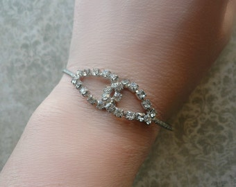 Vintage Rhinestone Bracelet - Interlocking Silver Bracelet - Eternity Bracelet - Vintage Wedding - Bridal Jewelry, Prom, 1950s, Retro