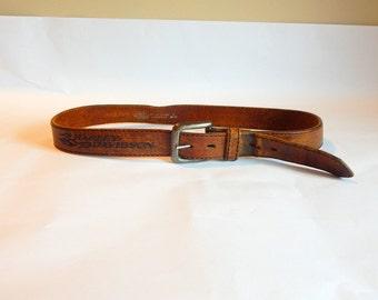 Vintage Genuine Leather Belt Harley Davidson Belt Large Brown Belt