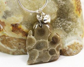 Petoskey Stone / MI Shape / Petoskey Stone Necklace / MI Shape Necklace