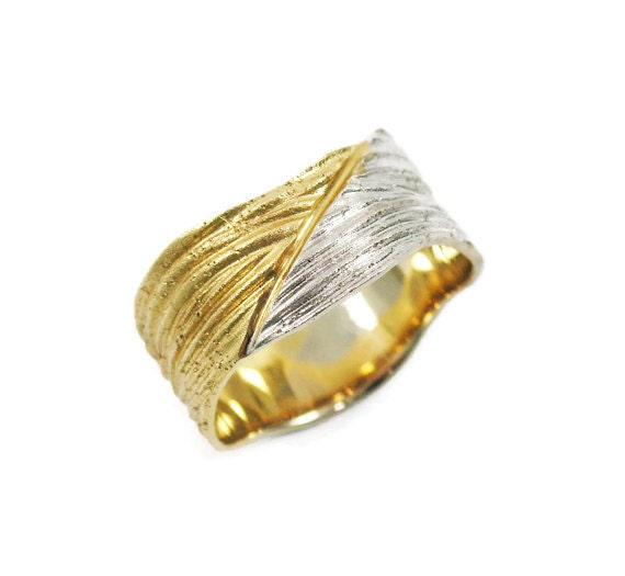 white yellow gold wedding band 14k yellow gold by