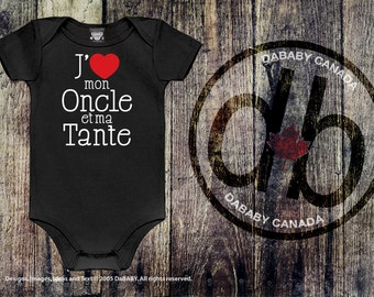 J'aime mon Oncle et ma Tante, français design, Unique Baby Shower Gift, Baby Keepsake Gift, Baby Girls' Clothing, Baby Boys' Clothing