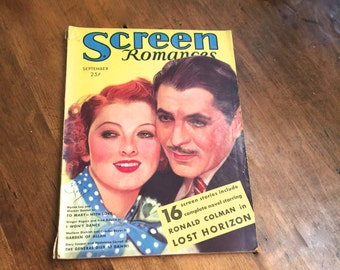Screen Romances 1936 Movie Magazine  Lost Horizons Novella 1930s Celebrities
