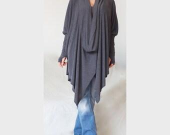 Oversize Asymmetric Sweater Tunic / Gray Asymmetric Turtle V Neck Pullover / XXL XXXL Loose Sweater/ Charcoal Grey Sweater /CH018