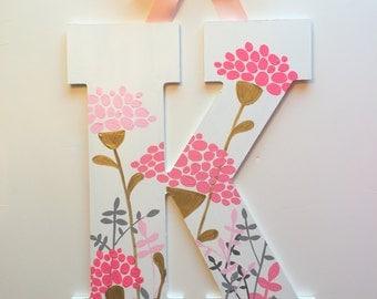 Floral Botanica Hand Painted Letter - Block Font