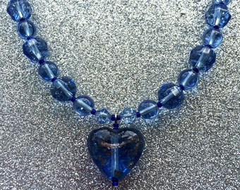 Blue Glass Heart with Goldstone trail effect  Pendant Necklace approx 18 inches-Handmade Necklace-Ladies Jewellery-Handmade Jewellery-Gift