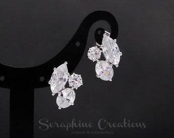 Bridal Earrings, Fancy Cubic Zirconia Wedding Jewelry Simple Stud Wedding Earrings Crystal Bridesmaid Jewelry Bridal Party Gifts Eliana K093
