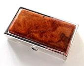 EXOTIC PILL BOX - Birth Control Pill Case - Amboyna Burl - Small Pill Case - Pocket Pill Box - Purse Pill Box - Gift for Mom