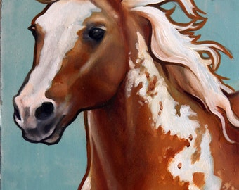 Original Pinto Palomino Horse Oil Painting 6x8in