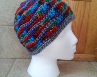 Crochet hat, crochet beanie, knit hat, knit beanie, waves, chevron, brainwaves, unisex, men, rainbow, gray
