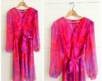 Vintage 70s chiffon dress . Pink & Purple print dress . Size medium