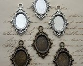 Cameo setting - 3 PIECES 18x13mm Setting Cameo Bezel Frame Setting Baroque Victorian Ornate Setting Cab Cabochon Setting - Silver or Brass
