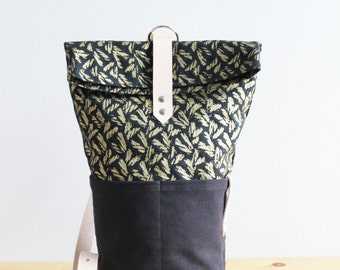 Gold Basketweave Sling Backpack - Organic Cotton and Natural Leather Strap
