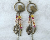 Handmade brass bird earrings with Swarovski crystals in pink, yellow, and fuschia, ready to ship, gifts for her, gifts under 50, made in MT
