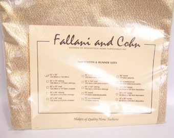 Vintage Fallani and Cohn Gold Lame Metallic Tablecloth 52 x 52 Gold Table Topper New in Package Holiday Tableware Christmas Table Linen