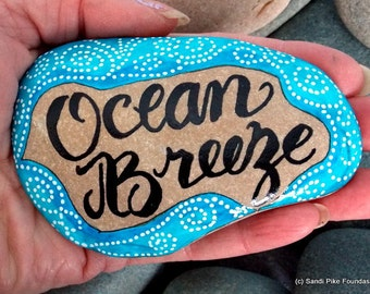 ocean breeze / painted sea stones / painted rocks / hand painted stones / rock art / words in stone / beach art / beach decor / turquoise