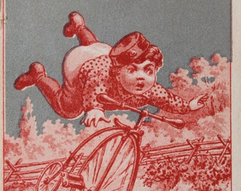 Vintage Victorian style trade business card / One Price Hatter / paper ephemera for altered art / red tone paper / Edwardian boy and bicycle