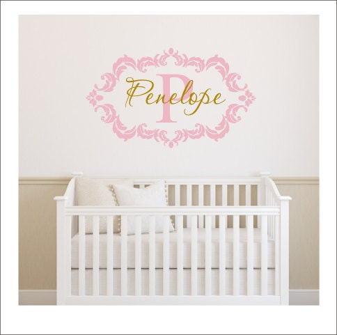 Gold Wall Decal Damask Frame Decal Personalized Wall Decal Girls - Custom vinyl wall decals damask
