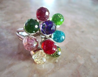 Rare VINTAGE 925 STERLING SILVER Multi-Color Pink Blue Green Purple Red And Clear C Z Cubic Zirconia 9 Faceted Ball Gems Ring Size 9