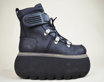 90s Clubkid Cyber Goth Rare Black Leather Lace Up Velcro Strap Chunky Bubble Foam Platform Sneakers Space Boots UK 3 / US 5.5 / EU 36