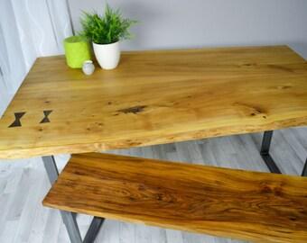 Farfalla - Live edge Oak slab dining table with butterflies on a steel base