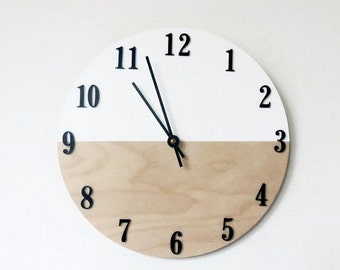 Unique Modern Wall Clock, Trending White and Wood Color Block Quartz Clock,  Housewares, Home and Living, Unique Wall  Clock